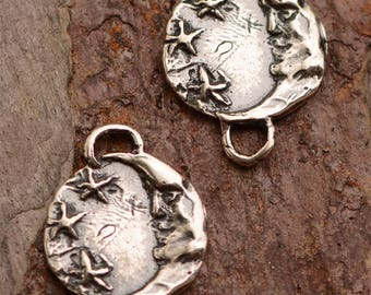 Two Sterling Silver Moon Face and Stars Chain Links, Connectors