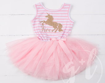 Unicorn Birthday Outfit, Fifth birthday outfit, 5th birthday dress, tutu dress with gold unicorn and pink tutu for girls 5th birthday