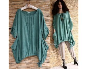 Nicole - Bohemian Lagenlook Plus Size Hand Dyed Tunic Dress with Big Pockets OOAK