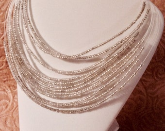 """16"""" silver and gray multilayered Seedbead necklace w/2"""" ext."""