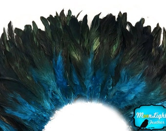 Rooster Feathers, 4 Inch Strip - TURQUOISE BLUE Dyed Half Bronze Strung Rooster Schlappen Feathers : 383