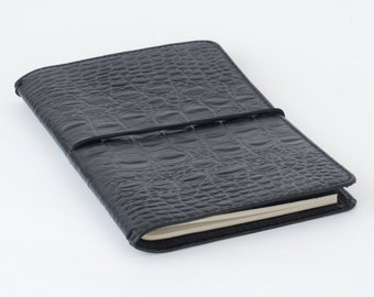 Handmade Genuine Leather Journal Cover / leather moleskin cover - Large Black (embossed cow hide)