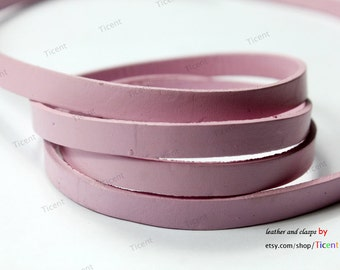 8mmx2mm Baby Pink Flat Leather, 8mm Genuine Cow Hide Leather Strip GF8M-12