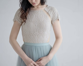 Dolores - lace bodysuit / rustic lace top / cream lace top / bridal bodysuit / wedding top / country wedding top / bridal separates