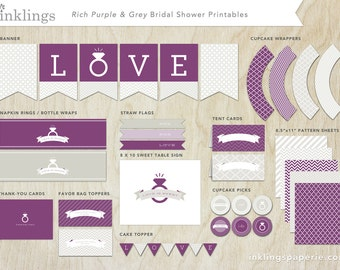 Printable Bridal Shower Games // 7 Games including Wishes for the Couple, Purse Game, Scattergories, Bridal Libs, World Scramble // Purple