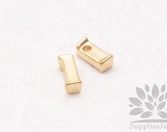 "IP003-MG-L// Matt Gold Plated Simple Lower Case Initial ""l"" Pendant, 2 pcs"