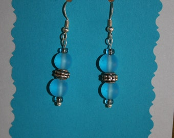 Silver Earrings with Blue Rounds