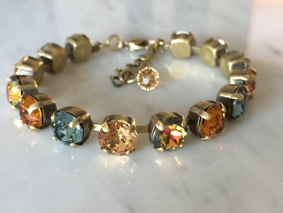 Swarovski Sahara Crystal Bracelet,  Swarovski Topaz Crystal Bracelet, Topaz Bracelet, Blue Crystal Bracelet