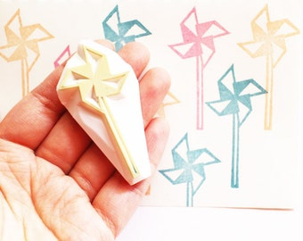 paper windmill rubber stamp | wind mill | party stamp | birthday gift wrapping | summer scrapbooking | hand carved by talktothesun