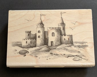 Sandcastle Wood Mounted Rubber Stamp