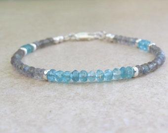 Labradorite Apatite  & Silver Bracelet