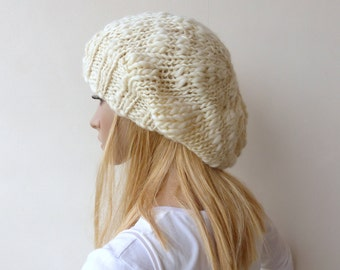 Cream Slouchy Beanie Hat Chunky Winter White knit hat