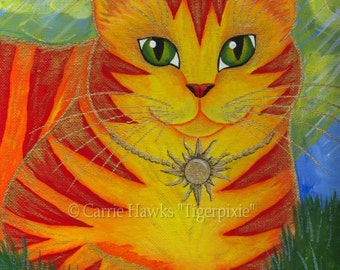 Orange Cat Painting Sun Cat Art Rajah Golden Cat Portrait Big Eye Art Fantasy Cat Art Print 5x7 Cat Lovers Art