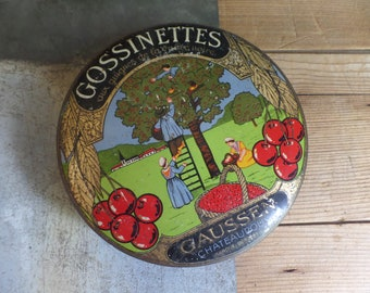 Vintage french metal tin box Sweet box  Cherries on lid