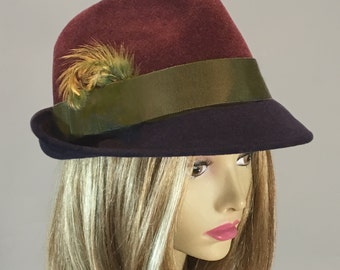 Sami,  Fur Felt Trilby Fedora womens millinery hat,  two-tone color navy and maroon