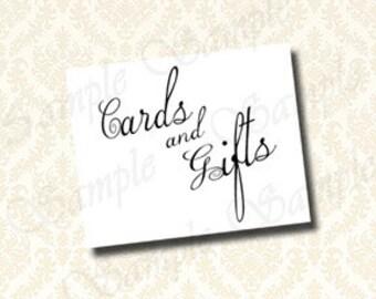 Druckbare Karten und Geschenke Zeichen Karte Tabelle Zeichen Geschenk Tabelle Zeichen, DIY Partei Dekorationen, klassische Kalligrafie-Stil