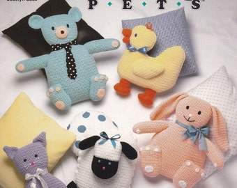 Pillow Pets, The Needlecraft Shop Crochet Animal Pals Pattern Booklet 921317 HTF Bunny Duck Kitty & More