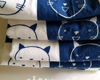 Caturday is Everyday Screenprinted Kitchen Towel in Navy Blue Ink