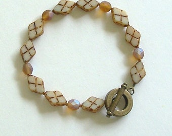 Beige and Brown Diamond Shaped Czech Glass Beads and Fire Polish Beads by Carol Wilson of Je t'adorn