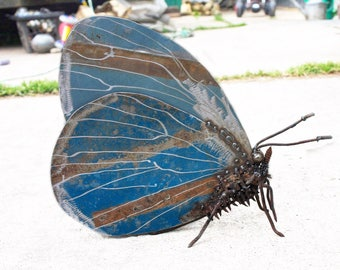 Blue Butterfly Sculpture, Scrap Metal Holly Blue Butterfly,A Bespoke Piece of Recycled Art, An Oil Painting on Metal.