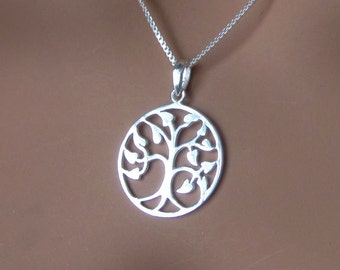 Art Nouveau Sterling Silver Tree of Life Pendant Sterling Box Chain Necklace Choose Your Length