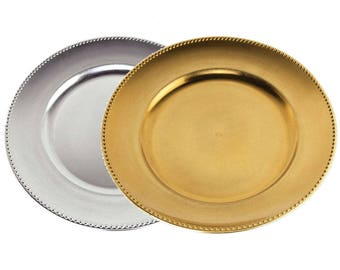 Metallic Round Charger Plate Beaded Edge, 13-Inch
