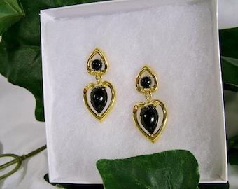 Vintage Trifari Gold Black Stone Dangle Heart Post Earrings