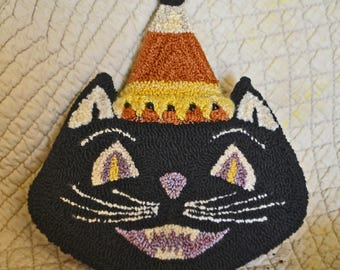 Mailed, paper pattern170824 -WITCHY CAT - packet no. 3 -Punch Needle Bowl Filler/Tucks for Halloween Trick & Treats