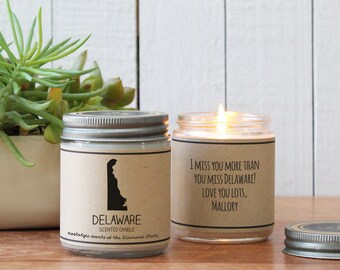 Delaware Scented Candle - Homesick Gift | Feeling Homesick | State Scented Candle | Moving Gift | College Student Gift | State Candles