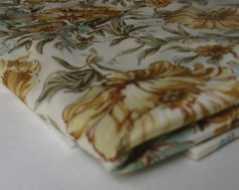 vintage fabric, GOLD and TURQUOISE POLYESTER, floral print, measures 64 inches by 1.25 yards
