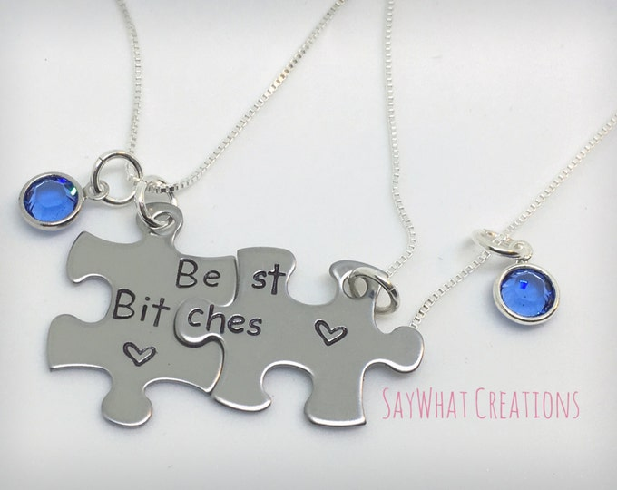 Best Friends Puzzle Piece Necklace Set of Two Interlocking Puzzles