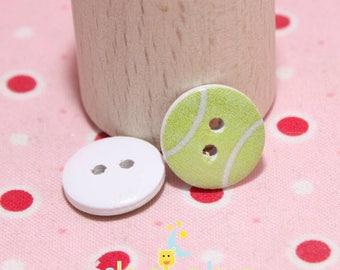 Wooden buttons round 15mm tennis ball design