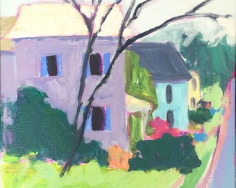 SALE Recycle Day on Federal #1 - 6x6 inches original acrylic plein air painting of a neighborhood street by Maryland artist Barb Mowery