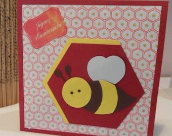 Kids birthday card with bee birthday card