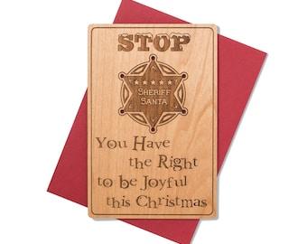 Western Theme Christmas Cards Wood. Sheriff Santa Christmas Card. Holiday 2017 Greeting Card.