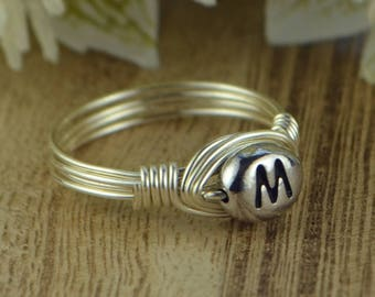 Letter M Monogram Initial Wrapped Ring- Sterling Silver, Yellow or Rose Gold Filled Wire Pewter Bead -Size 4 5 6 7 8 9 10 11 12 13 14