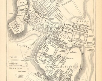1894 Forum Romanum and the Palatine Hill in the Ancient Rome Original Antique Map