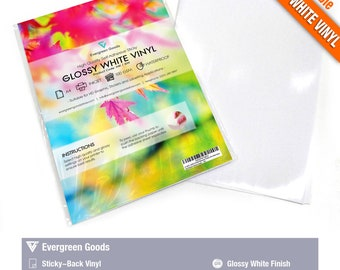 INKJET Waterproof REMOVABLE Adhesive Decal Vinyl GLOSSY WHITE 5 Sheets