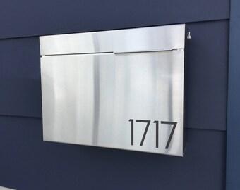 Larger Modern MITCH S mailbox - stainless steel, Modern Mailbox, Wall Mount mailbox - contemporary #1411S
