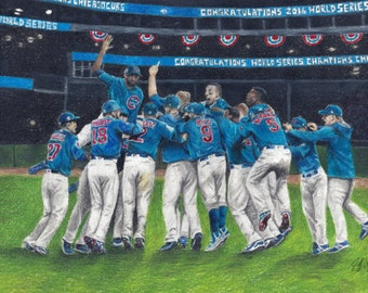 2016 Champions, Chicago Cubs Game 7 Celebration, World Series Champions on Canvas