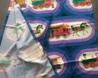 Lovely pair of unused vintage lined cotton children's curtains pony wagon train 127 x 104 cm