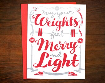 Crossfit fitness cards 10 card bundle crossfit christmas weightlifting christmas cards may your weights feel light crossfit fitness barbell powerlifting holiday greeting card m4hsunfo
