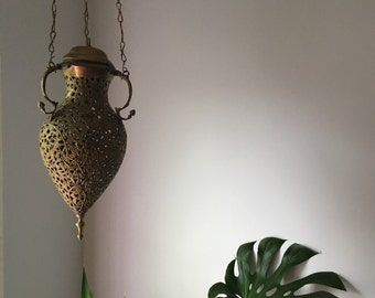 antique pierced brass moroccan lantern