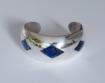 Taxco Sodalite Inlay Sterling Silver Wide Cuff Bracelet  // Made in Mexico
