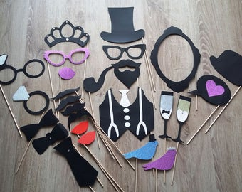 Accessories photobooth x 26 for a wedding with Rhinestones