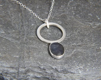 Blue Rose Cut Sapphire Circle Drop pendant in Sterling Silver - hand made in Cornwall