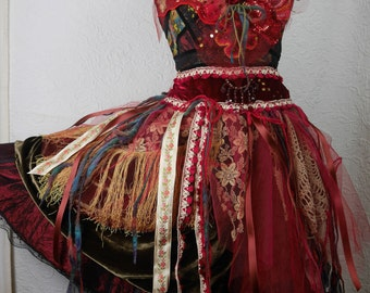 "Very Romantic Dress and her ""Passionate Red Rose"" necklace, Boho dress, Very Feminine, Art to Wear, Unique Piece"