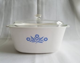 Vintage Corning Ware Blue Cornflower 2 1/2 Quart Pyroceram Casserole Dish with Glass Lid