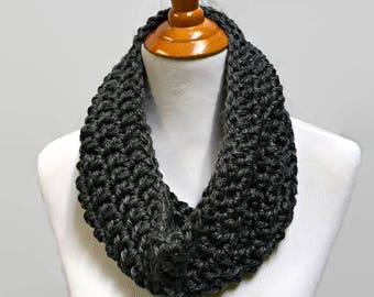 Charcoal Gray Cowl Scarf, Grey Cowl, Chunky Cowl, Crochet Scarf, Gray Neck Warmer, Women's Cowl, Chunky Knit Cowl, Gift Ideas for Women
