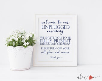 Printable Unplugged Wedding Sign. Unplugged Ceremony Sign. No Cell Phone Sign. No Cell Phones. Wedding Ceremony Sign. Wedding Signs Welcome.